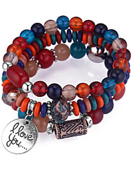 cheap -Bead Bracelet Stack Stacking Stackable Ladies European Ethnic Fashion Acrylic Bracelet Jewelry Coffee / Red / Green For Daily