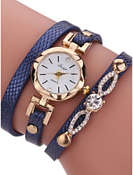 cheap -Women's Bracelet Watch Quilted PU Leather Black 30 m Chronograph Analog Ladies Bangle Fashion - Blue Pink Bronze One Year Battery Life / Stainless Steel / SSUO LR626