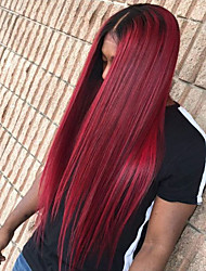 cheap -Synthetic Lace Front Wig Straight Minaj Middle Part Lace Front Wig Burgundy Long Black / Burgundy Synthetic Hair Women's with Baby Hair Heat Resistant Ombre Hair Burgundy Modernfairy Hair