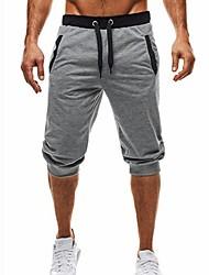 cheap -Men's Basic / Street chic Daily Sports Holiday Chinos / Shorts Pants - Color Block Black & Gray, Patchwork / Drawstring Summer Fall Black Dark Gray Light gray L XL XXL / Beach