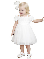cheap -Kids Girls' Active Street chic Party Birthday Solid Colored Lace Mesh Sleeveless Midi Dress White / Cotton
