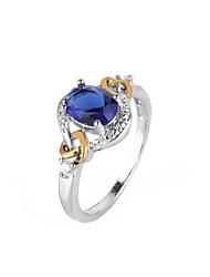 Недорогие -Жен. Обручальное кольцо Синтетический алмаз Синий Медь Круглый Геометрической формы Дамы Праздник европейский Для вечеринок Подарок Бижутерия геометрический Шарообразные / Крупногабаритные
