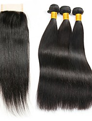 cheap -3 Bundles with Closure Indian Hair Straight Human Hair Hair Weft with Closure Natural Color Human Hair Weaves Gift New Arrival Hot Sale Human Hair Extensions / 8A