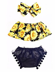 cheap -Baby Girls' Casual / Street chic Holiday / Going out Floral Backless / Ruffle / Tassel Sleeveless Short Short Clothing Set Yellow / Print / Toddler