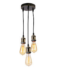 cheap -3-Light Vintage Loft Mini Cluster Chandelier Metal Bars Kitchen Dining Room Pendant Light Use 3 E26/27 Bulbs