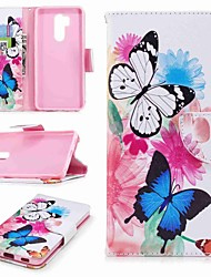 cheap -Case For LG LG V30 / LG V20 / LG Q6 Wallet / Card Holder / with Stand Full Body Cases Butterfly Hard PU Leather