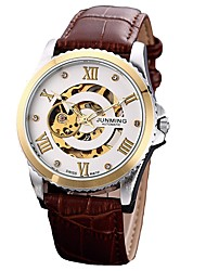 cheap -Men's Dress Watch Skeleton Watch Automatic self-winding Classic Chronograph Analog Brown / Stainless Steel / Genuine Leather / Japanese / Genuine Leather / Japanese