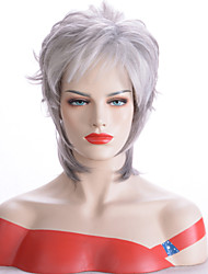 cheap -Synthetic Wig Wavy Pixie Cut Wig Short Silver Synthetic Hair Women's Heat Resistant Synthetic New Arrival Silver / African American Wig