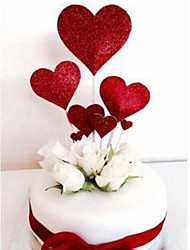 cheap -Cake Topper Floral Theme / Romance / Wedding Stylish / Heart shape Paper Wedding / Birthday with Heart 7pcs OPP