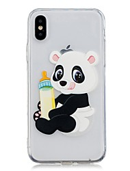 cheap -Case For Apple iPhone X / iPhone 8 Plus / iPhone 8 Transparent / Pattern Back Cover Panda Soft TPU