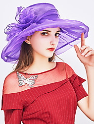 cheap -Women's Kentucky Derby Basic Holiday Mesh Sun Hat-Solid Colored Bow Summer Gray Purple Yellow / Fabric