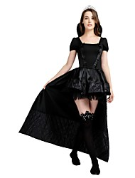 cheap -Witch Dress Costume Adults' Women's Halloween Halloween Carnival New Year Festival / Holiday Polyster Black Female Carnival Costumes Solid Colored Halloween