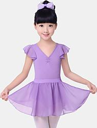cheap -Ballet Outfits Girls' Training / Performance Cotton / Chiffon Split Joint / Ruching Short Sleeve Natural Skirts / Leotard / Onesie