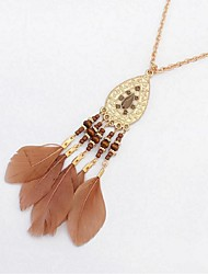 cheap -Synthetic Tanzanite Pendant Necklace Chain Necklace Long Necklace Thick Chain Feather Ladies Vintage Fashion Native American Resin Feather Alloy Coffee Red Dark Green 72 cm Necklace Jewelry For