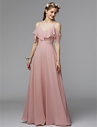cheap -A-Line Spaghetti Strap Floor Length Chiffon / Charmeuse Bridesmaid Dress with Ruffles / Open Back