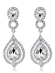 cheap -Crystal Drop Earrings Hanging Earrings Chandelier two stone Drop Ladies Fashion Elegant Bridal Earrings Jewelry Silver For Wedding Party / Evening