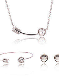 cheap -Women's Jewelry Set Geometrical Heart Ladies Vintage Sweet Fashion Earrings Jewelry Gold For Ceremony Street