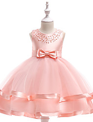 cheap -Ball Gown Knee Length Flower Girl Dress - Cotton Blend / Tulle Sleeveless Jewel Neck with Bow(s) / Cascading Ruffles / Pleats