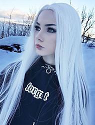 Недорогие -Синтетические кружевные передние парики Волнистый Kardashian Стиль Средняя часть Лента спереди Парик Белый Белый Искусственные волосы Жен. Регулируется / Женский / синтетический Белый Парик Длинные