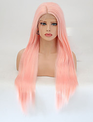 cheap -Synthetic Lace Front Wig Straight Layered Haircut Lace Front Wig Pink Long Pink Synthetic Hair Women's Natural Hairline Pink