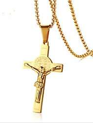 cheap -Pendant Necklace Cross Vintage Stainless Steel Titanium Steel Gold 51 cm Necklace Jewelry For Gift Daily