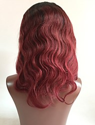 cheap -Remy Human Hair Lace Front Wig Layered Haircut style Brazilian Hair Wavy Red Wig 130% Density with Baby Hair Ombre Hair Dark Roots Women's Short Medium Length Long Human Hair Lace Wig Aili Young Hair