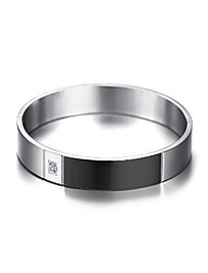 cheap -Cubic Zirconia Bracelet Bangles Fashion Initial Stainless Steel Bracelet Jewelry Black / Silver For Wedding Gift Daily Masquerade Engagement Party Prom