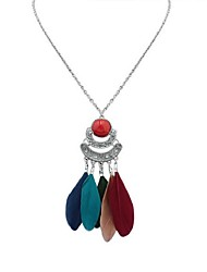 cheap -Cubic Zirconia Pendant Necklace Chain Necklace Thick Chain Feather Ladies Fashion Native American Resin Feather Alloy Wine Black Light Green Blue Rainbow 70 cm Necklace Jewelry For Carnival Date