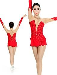 cheap -Rhythmic Gymnastics Leotards Artistic Gymnastics Leotards Women's Girls' Leotard Red Spandex High Elasticity Handmade Print Jeweled Long Sleeve Competition Ballet Dance Ice Skating Rhythmic Gymnastics