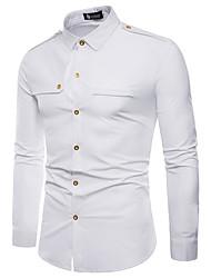 cheap -Men's Casual Leisure Sports Basic EU / US Size Cotton Shirt - Solid Colored / Color Block Lace up Black