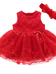 cheap -Baby Girls' Basic Solid Colored Sleeveless Dress Red