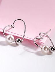 cheap -Women's Pearl Freshwater Pearl Stud Earrings Heart Ladies Korean Sweet Fashion Stainless Steel S925 Sterling Silver Freshwater Pearl Earrings Jewelry Silver For Party Date