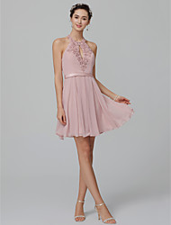 cheap -Ball Gown Halter Neck Short / Mini Chiffon Open Back / Elegant / Pastel Colors Cocktail Party / Homecoming Dress 2020 with Beading / Appliques / Sash / Ribbon