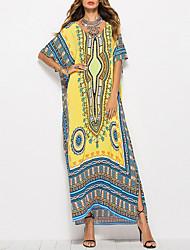 cheap -Women's Boho / Beach Maxi Yellow Orange Dress Beach Jalabiya Print Ethnic One-Size Loose
