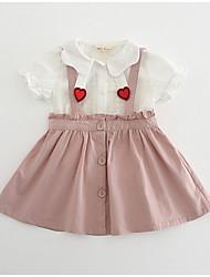 cheap -Toddler Girls' Basic Geometric Short Sleeve Clothing Set Blushing Pink
