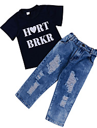 cheap -Toddler Boys' Basic Street chic Daily Going out Solid Colored Print Hole Ripped Print Short Sleeve Regular Regular Cotton Clothing Set Black