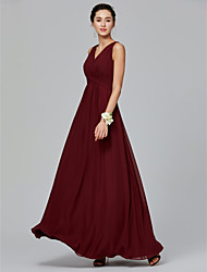 cheap -A-Line V Neck Floor Length Chiffon Bridesmaid Dress with Side Draping / Criss Cross