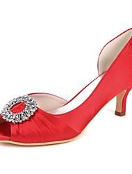 abordables -Femme Chaussures de mariage Kitten Heel Bout ouvert Strass / Drapée sur le côté Satin Escarpin Basique Printemps été Rouge / Champagne / Ivoire / Mariage / Soirée & Evénement