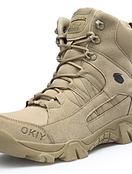 cheap -Men's Hiking Shoes Hiking Boots Windproof Breathable Anti-Slip Sweat-wicking High-Top Hiking Active Training Autumn / Fall Winter Brown Yellow Khaki