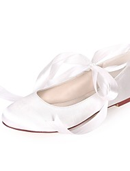cheap -Women's Flats Lace up Plus Size Flat Heel Round Toe Ballerina Wedding Party & Evening Satin Ribbon Tie Solid Colored White Red Champagne
