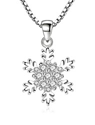 cheap -Cubic Zirconia tiny diamond Pendant Necklace Snowflake Ladies Sweet Fashion Alloy Silver 45 cm Necklace Jewelry For Party Daily