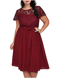 cheap -Women's Plus Size Wine Black Dress Elegant Sophisticated A Line Chiffon Solid Colored Lace Lace up Patchwork L XL Slim