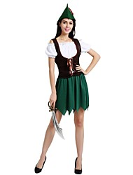 cheap -Elf Costume Women's Adults Halloween Halloween Carnival Children's Day Festival / Holiday Polyster Outfits Green Solid Colored Halloween