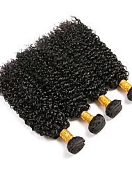 cheap -4 Bundles Brazilian Hair Kinky Curly Human Hair Natural Color Hair Weaves / Hair Bulk One Pack Solution Human Hair Extensions 8-28 inch Natural Color Human Hair Weaves Best Quality Hot Sale Human