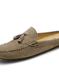 cheap -Men's Moccasin Cowhide Spring / Spring & Summer Casual / British Clogs & Mules Non-slipping Color Block Blue / Gray / Khaki