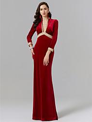 cheap -Sheath / Column Plunging Neck Floor Length Velvet Elegant Formal Evening Dress 2020 with Appliques / Lace / Pleats