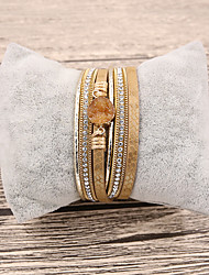 cheap -Resin Leather Bracelet Ladies Bohemian Fashion Boho Leather Bracelet Jewelry Yellow / Blue / Pink For Gift Daily