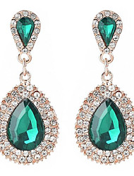 cheap -Women's Sapphire Drop Earrings Dangle Earrings Pear Cut Solitaire Two Stone Statement Ladies Elegant Ethnic Vintage Elizabeth Locke Earrings Jewelry White / Blue / Green For Wedding Evening Party