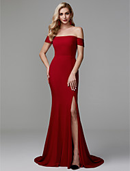cheap -Mermaid / Trumpet Off Shoulder Sweep / Brush Train Spandex Elegant / Minimalist Formal Evening Dress with Split Front 2020