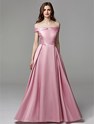 cheap -A-Line Off Shoulder Floor Length Chiffon / Satin Elegant / Minimalist / Pastel Colors Prom / Formal Evening Dress 2020 with Bow(s) / Embroidery